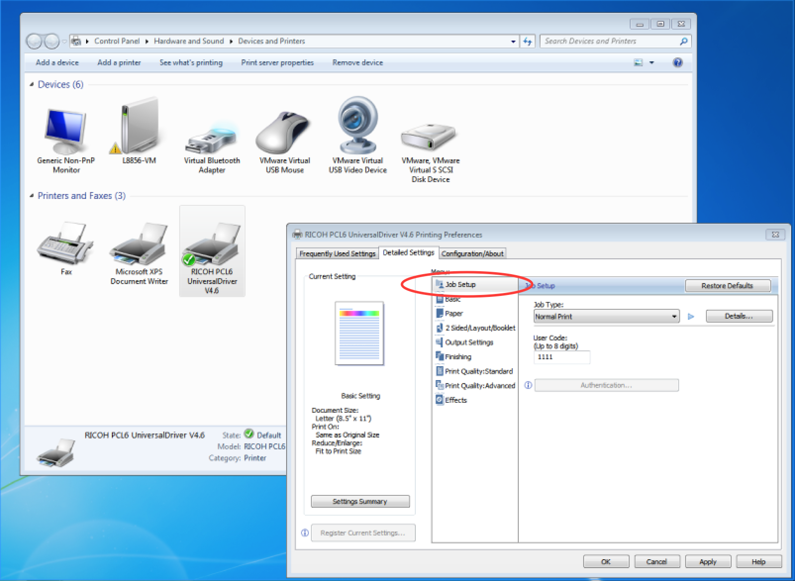 How to set your user code for printing to a Ricoh copier in Windows