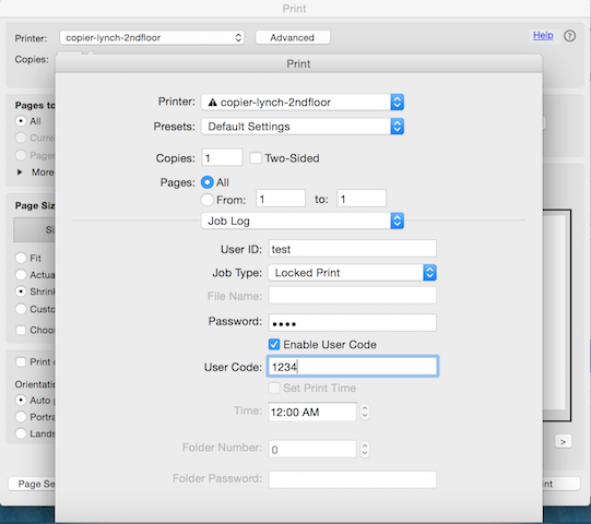 How to set your user code for printing to a Ricoh copier in Mac