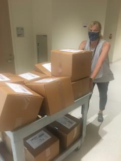 Dr. Robinson gets ready to ship lab kits at the beginning of the fall semester